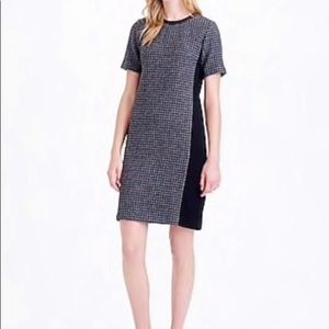 J.CREW Mixed Houndstooth Panel Dress Wool Leather